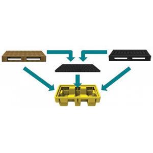 Мобильная ёмкость - герметичный поддон с решеткой для европоддона 1200 x 800 мм или для двух двухсотлитровых бочек