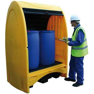 Мобильный защитный бокс для поддона-контейнера на две бочки, ёмкость 250 литров