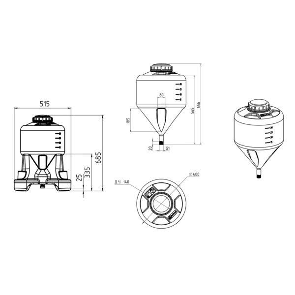 Ёмкость ЦКТ 35 литров с подставкой (комплектация стандарт)