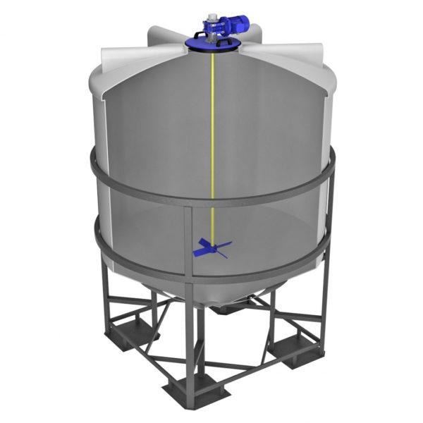 Ёмкость ФМ 5000 литров в обрешетке с лопастной мешалкой