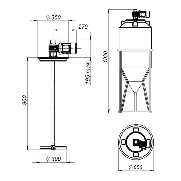 Ёмкость ФМ 240 литров в обрешетке с лопастной мешалкой