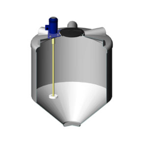 Ёмкость ФМ 1000 литров в обрешетке с турбинной мешалкой