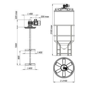 Ёмкость ФМ 5000 литров под плотность 1.5 г/см³ в обрешетке с лопастной двухъярусной мешалкой