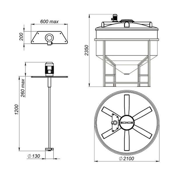 Ёмкость ФМ 3000 литров в обрешетке с турбинной мешалкой