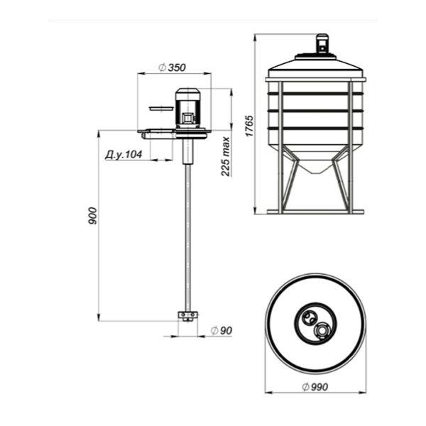 Ёмкость ФМ 500 литров в обрешетке с турбинной мешалкой