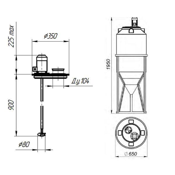 Ёмкость ФМ 240 литров c пропеллерной мешалкой