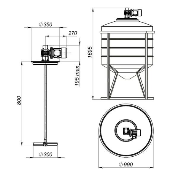 Ёмкость ФМ 500 литров в обрешетке с лопастной мешалкой
